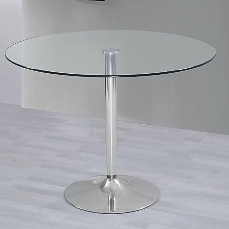 Tavolo rotondo per sala da pranzo, in vetro e cromo: Amazon