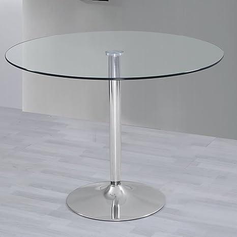HOGAR24 ES Mesa de Salon Comedor Cocina Redonda de Cristal y Base de ...