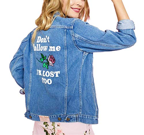 Fiore Giacca Autunno Button Chic Outerwear Denim Digitale Stampa 4FY1wx5q