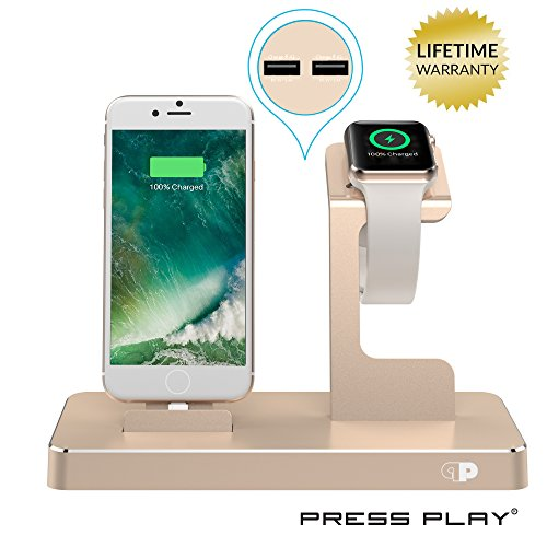 ONE Dock (APPLE CERTIFIED) Power Station Dock, Stand & Built-In Lightning Charger for Apple Watch Smart Watch Series 1,2,3, Nike+ iPhone X/8/8Plus/7/7Plus/6s/6s, iPad & iPod (Aluminum)– Gold (Ipod 4 Replacement Gold Screen)