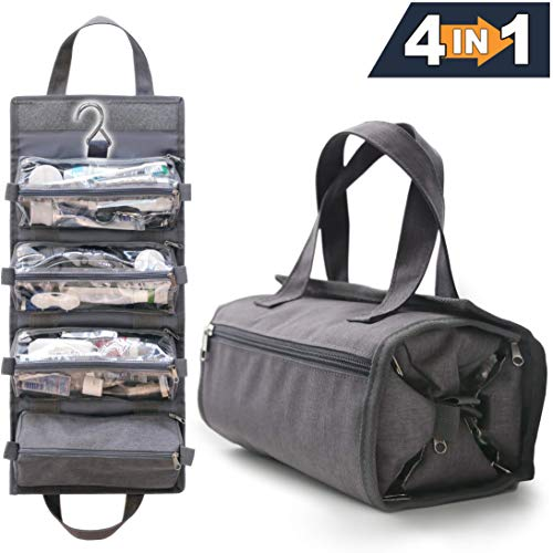 4-in-1 Hanging Toiletry Bag Travel Toiletries Bag for Women Men – Roll Up Compact Cosmetic Kit with Hook Waterproof, TSA Approved Removable Carry On Pouches Heather Gray