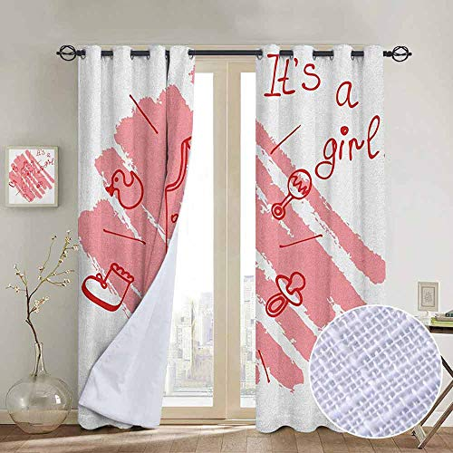 NUOMANAN Curtains Gender Reveal,Little Baby Girl on The Pastel Backdrop Toys Mom Pacifier Greeting Print, Coral and Red,Treatments Thermal Insulated Light Blocking Drapes Back for Bedroom 52