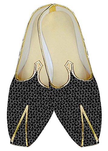 INMONARCH Negro y Plata Hombres Boda Zapatos Patrón de recuadro MJ14093