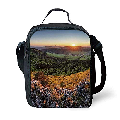 Nature Stylish Lunch Bag,Balkans Slovakian Mountain Valley at Sunset Sky Surreal Landscape for Children,7.4