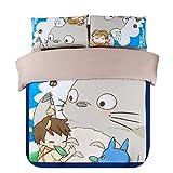 Cartoon My Neighbor Totoro Bedding Sets - Sport Do Ultra Soft Children Favorite Gifts Flat Sheet 4PC Queen