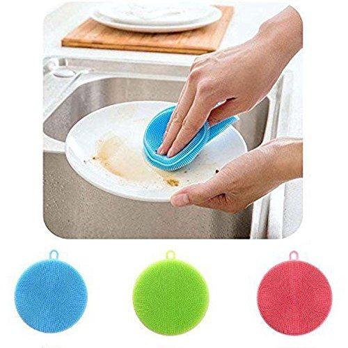aodew silicona plato lavado estropajo esponja cocina herramientas de limpieza cocina cepillo para polvo para polvo de...