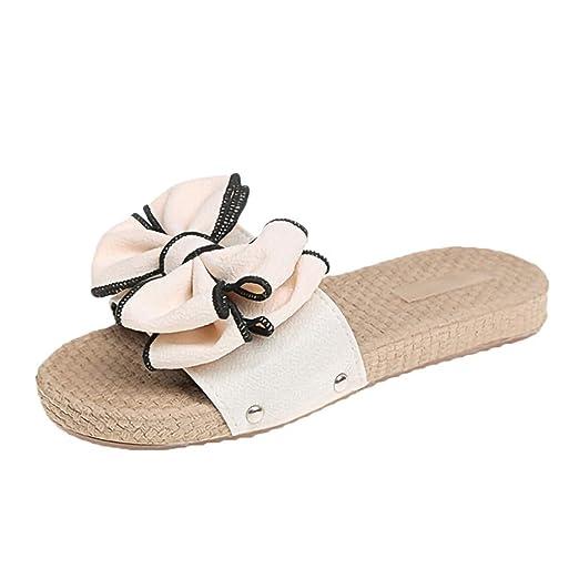 8c9e5559d464b DENER❤ Women Ladies Summers Flat Hemp Sexy Slippers Moccasin, Bow ...