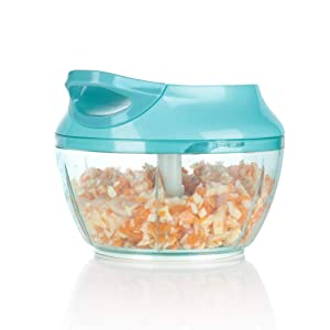 Ourokhome Mini Garlic Chopper Grinder - Portable baby food Masher for Vegetables, Onions, tomato, potato (2 cup)