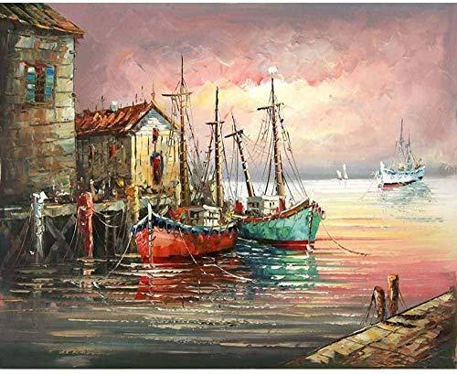 DUANGONGZI Cuadro Paisaje Marino Barco DIY Pintura por numeros Moderno Arte de la Pared Pintura al oleo Pintada a Mano para la decoracion de la Pared del hogar-No Frame-40X50CM