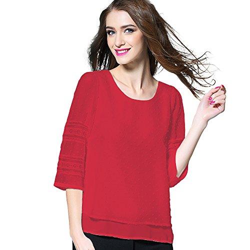 New DCOIKO Women Casual 3/4 Lace Sleeve Chiffon Shirts Double Layers Chiffon Blouses Tops for cheap