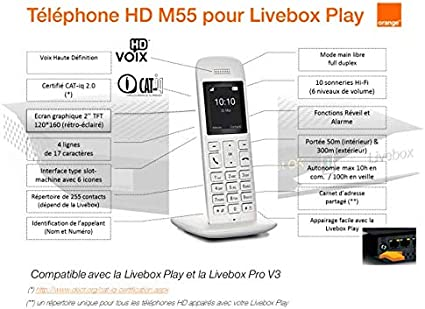 Teléfono Fijo DECT HD M55 de Orange Livebox – Blanco: Amazon.es: Electrónica