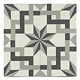 Moroccan Mosaic & Tile House CTP74-01 SaharaCTP74-01 Sahara 8''x 8'' Handmade Cement Tile in Black/Gray