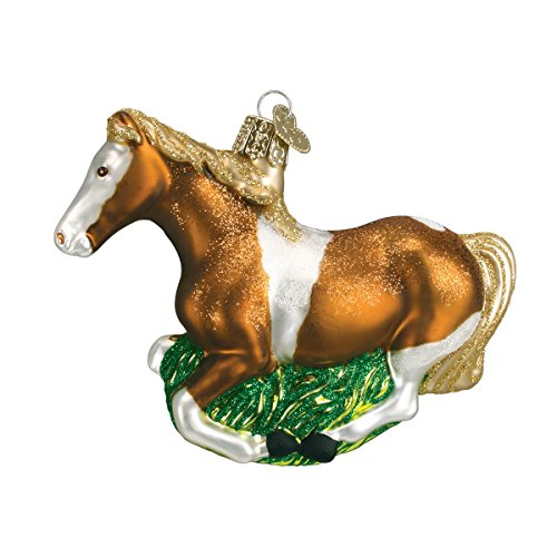 Old World Christmas Glass Blown Ornament with S-Hook and Gift Box, Animal Collection (Mustang, Stripe) by Old World Christmas