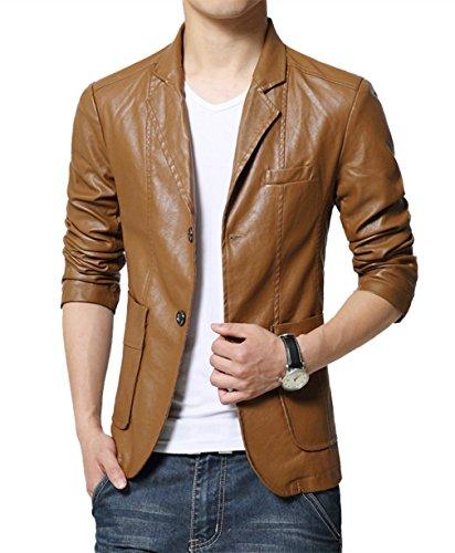 MOGU Mens Two Button Faux Leather Blazer Jacket US Size 43£¨Asian Lable 7XL Khaki