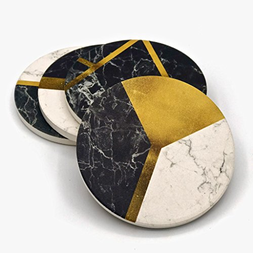 Stone Coasters by Klondermann - Set of 4 Absorbent Coasters for drinks - 4 inch diameter Sturdy and Heavy Coasters - Protect Your Tables with Fancy Decor and Unique Design (Unique Coaster Sets Drink)
