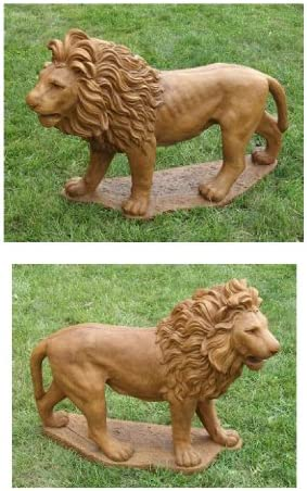 Set of 2 Majestic Lion Cast Stone Concrete Outdoor Garden Statue