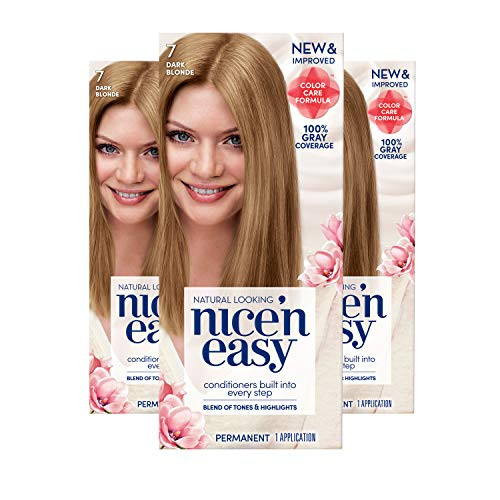 Clairol Nice 'n Easy Permanent Hair Color, 7 Dark Blonde, 3 Count (Packaging May Vary)