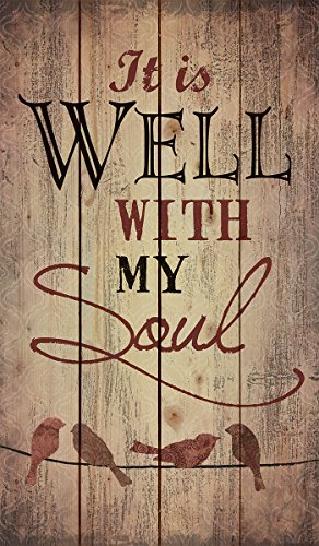 P. Graham Dunn It is Well with My Soul Birds Silhouette Rustic 24 x 14 Wood Pallet Design Wall Art Sign]()