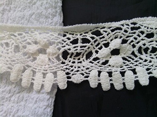 20 Yards Lace Trim Off White Cotton Venice Sewing Crafts Embellishments Wedding Supplies Decor Craft Supplies DIY Scrap Booking 2 1/2