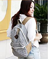 Signpost Cute Fashion Women Ladies Girls Rucksack Backpack Canvas Blue Stripe Leisure Travel Book Bag *Blue* by Signpost