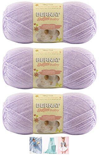Bernat Softee Baby Acrylic Yarn 3 Pack Bundle Includes 3 Patterns DK Light Worsted #3 (Soft Lilac)