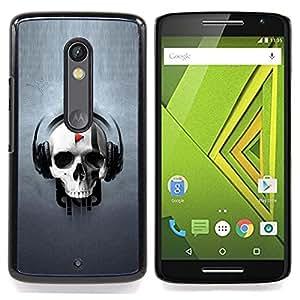 - Skull Play Music/ Duro Snap en el tel????fono celular de la cubierta - Cao - For Motorola Verizon DROID MAXX 2 / Moto X Play