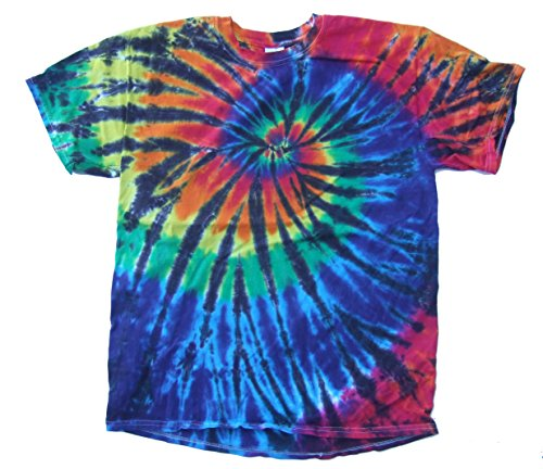 Rockin' Cactus Men's Tie Dye T-Shirt-Rainbow & Black Spider-S