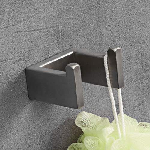 LuckIn 4pcs Bath Hardware Set Stainless Steel Towel Bar Set, Modern Bathroom Hardware Accessory Set Brushed Nickel, Towel Bar Holder Set with Double Robe Coat Hook, TRS001C by LuckIn (Image #5)