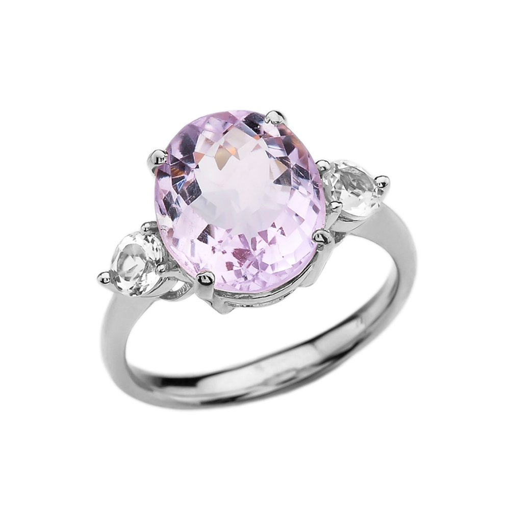 Dainty and Elegant Gold Rings 10k White Gold Pink Amethyst Modern Promise Ring With White Topaz Side-stones(Size 7.5)