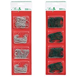 Christmas House Metal Ornament Hooks, 300-ct. Packs (COLORS...