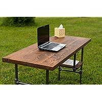 Reclaimed Wood Desk Table - Rustic Solid Oak W/28 Black Iron Pipe legs.