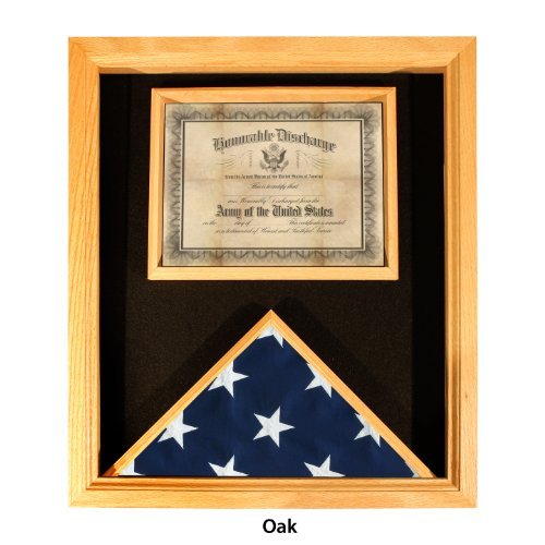 Online Stores, Inc. Premium USA-Made Solid Oak Flag And Document Case - For 3ft x 5ft Flags