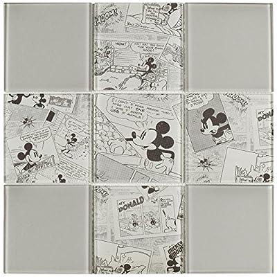 "SomerTile WDSMKY45 Disney Mickey Vintage Glass Mosaic Wall Tile, 11.75"" x 11.75"", , Grey, Black, White"