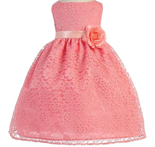 Little Baby Girls' Lovely Floral Lace Cute Wedding Easter Flowers Girls Dresses Coral Size 12M