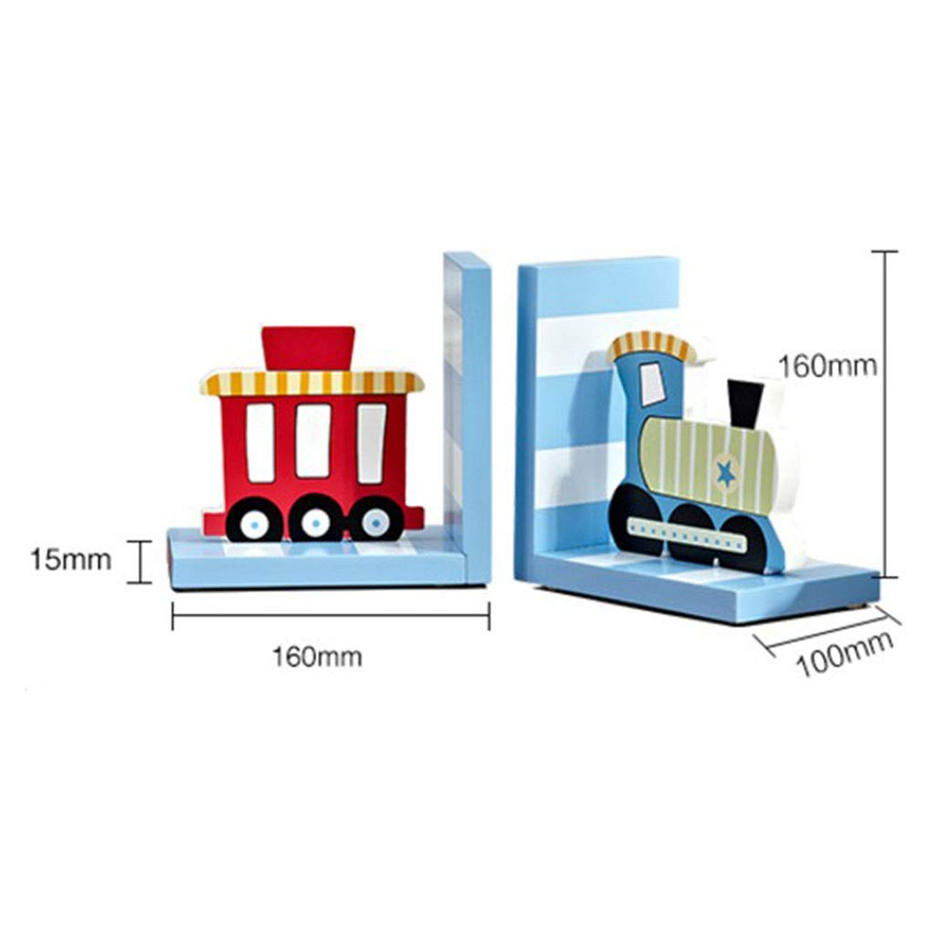 bookends-Train Cartoon Bookend Book by Desktop Creative Home Decorations Ornaments Book Stand Book Storage Rack 158100158mm (Color : A)