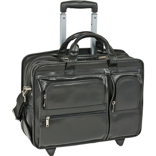 McKlein Genuine 17'' Clinton Leather 2-in-1 Removable-Wheeled Laptop Case by McKlein