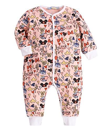 Kidsform Unisex Baby Romper Print Button Footless Bodysuit Onesie One-piece Pajamas Jumpsuit Elephant 6-9M