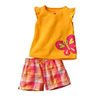 Jumping Meters Orange Butterfly Patch Work Sleeves Top and Short Set