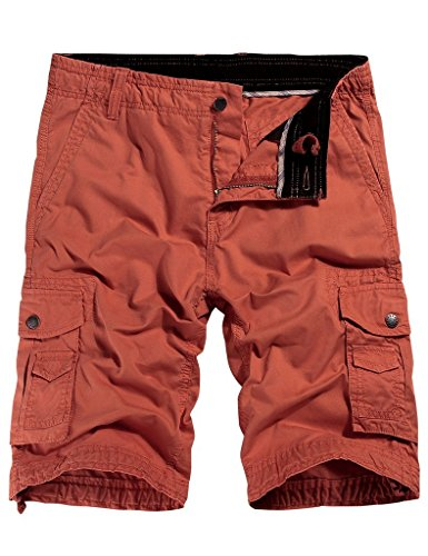WenVen Men's Cotton Twill Cargo Short Outdoor Wear Lightweight(No.4 Brick red,40)