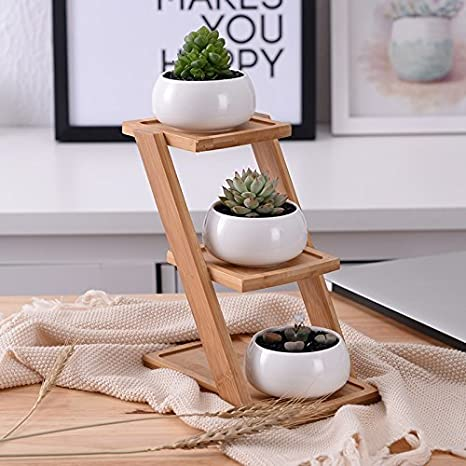 3 Tiers with stand Youfui Creative Succulent Planter Flowerpot Decor Ornament for Home Office Desk