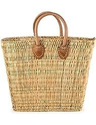 Moroccan Straw Market Bag w/ Brown Handles, 16Lx7Wx12H - Tatami Boat Lg
