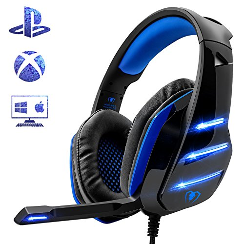 - PS4 Gaming Headset with Mic, Beexcellent Newest Deep Bass Stereo Sound Over Ear Headphone with Noise Isolation LED Light for PC Laptop Tablet Mac (Blue)