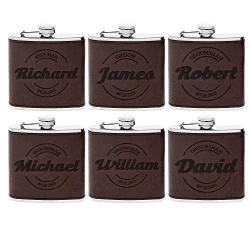 Set of 6 - Personalized Groomsmen Flasks, Groomsmen Gifts | 6oz Leatherette Personalized Flask for Liquor w Optional Gift Box - Personalized Groomsman Proposal Gifts | Wedding Favor #7 ESPRESSO