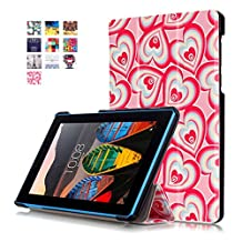 """Lenovo Tab 3 Essential 7-inch Tablet Cover,Lenovo 7inch Tab 3 Leather Case,PU Leather Outer Cover Case Flip Cover for Lenovo Tab 3 7""""Tablet Case with Flip features-Hearts"""