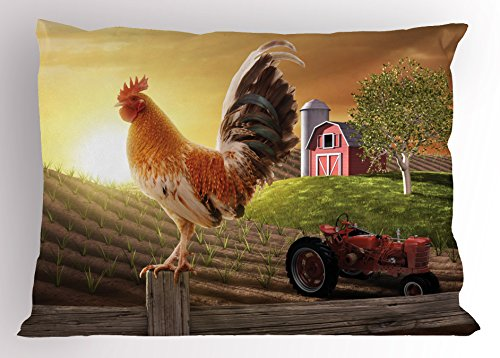 Ambesonne Country Pillow Sham, Farm Barn Yard Image with Rooster Animal Early Bird Nature and Rising Sun, Decorative Standard Queen Size Printed Pillowcase, 30 X 20 Inches, Light Brown Red by Ambesonne (Image #2)