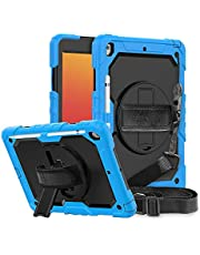 FANSONG iPad 10.2 Inch Case 9th/8th Generation (2021/2020) Built-in Screen Protector Pencil Holder iPad 7th Gen 2019 Shockproof Rugged Protective Cover [360 Rotating Stand] Hand Strap with Shoulder