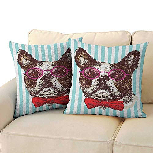 RenteriaDecor German,Couple Pillowcase Pop Art Hand Drawn Bulldog Sketch on Striped Background Funny Animal with Glasses 14
