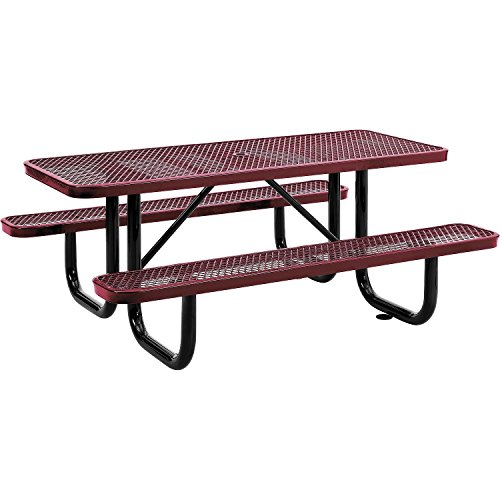 6' Rectangular Expanded Metal Picnic Table, 72