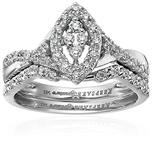 Keepsake Signature 14k White Gold Diamond Marquise Style Ring with Matching Wedding Band Set (1/4cttw, H-I Color, I1 Clarity), Size 7
