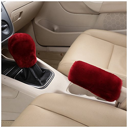 Dotesy Pure Wool Auto Gear Shift Knob Cover Handbrake Cover Sleeve Set, Soft Genuine Australian Sheepskin Fluffy Car Interior Gear Shift Parking Break Cover Protector, Wine Red (Cover Set Knob)